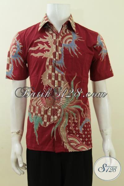 Kemeja Batik Warna Merah Untuk Anak Muda, Baju Batik Tulis Modis Bisa Untuk Seragam Kerja Pria Dewasa, Size S
