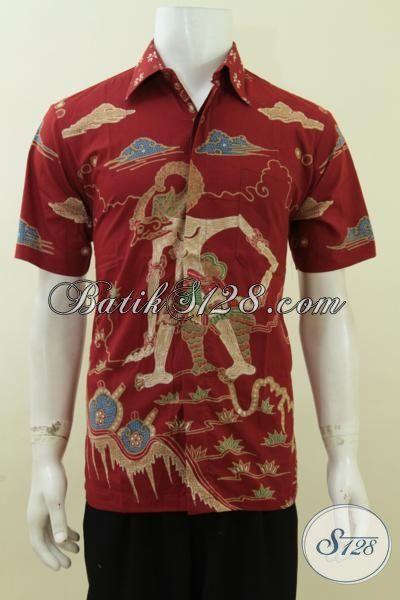 Batik Wayang Bima Untuk Laki-Laki Gagah Perkasa Warna Merah Mantap [LD3735T-M]