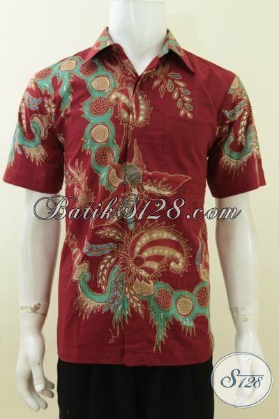 Baju Batik Tulis Pria Warna Merah Bagus Keren Motif Modern [LD3736T-M]