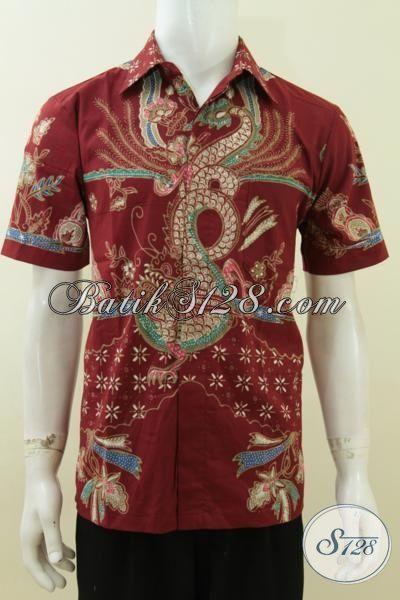 Baju Batik Keren Warna Merah Motif Naga, Hem Batik Tulis Lengan Pendek Elegan Dan Trendy, Size M