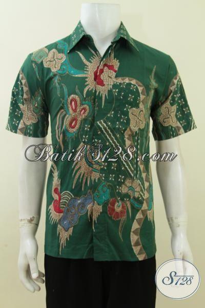 Baju Batik Pria Warna Hijau, Batik Tulis Asli Solo, Harga Terjangkau [LD3741T-M]