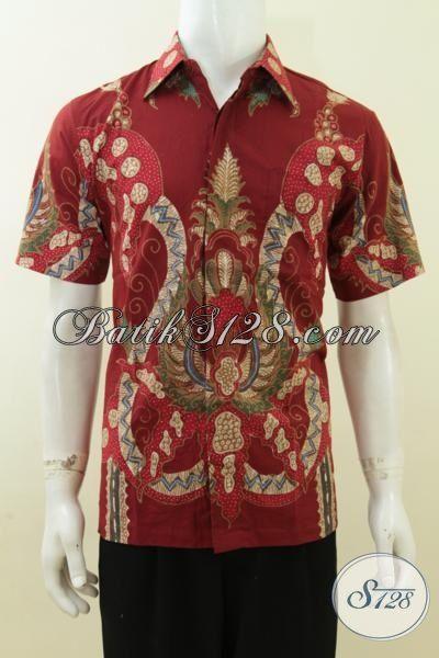 Hem Batik Tulis Pria Merah Motif Modern Bagus Keren Berkarakter [LD3742T-M]