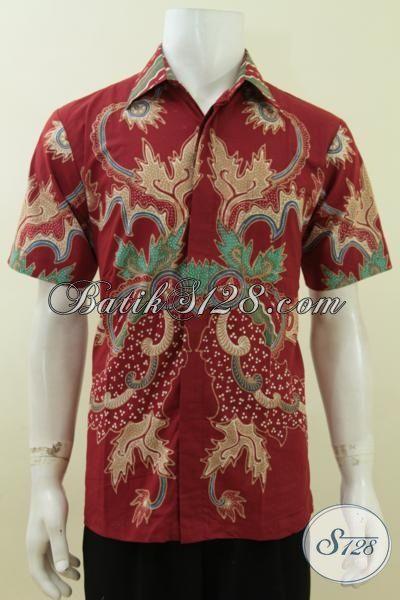 Hem Batik Ukuran M, Batik Tulis Motif Modern Warna Merah, Keren, Maco [LD3744T-M]