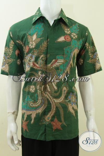 Baju Kemeja Hijau Keren Ukuran L, Batik Tulis Online, Untuk Pria Sukses [LD3750T-L]