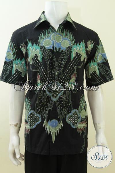 Busana Batik Solo Lengan Pendek Warna Hitam, Baju Batik Tulis Motif Paling Keren Trend Desain 2015, Size L