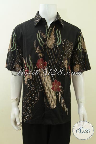 Baju Batik Hitam Bagus Banget, Motif Modern, Batik Tulis Asli [LD3757T-XL]