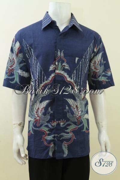 Jual Batik Pria Ukuran Besar Size XXL Warna Biru Model Terbaru Terkini [LD3762T-XXL]