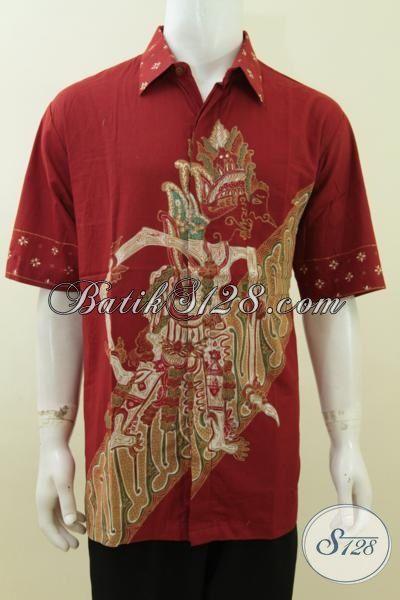 Baju Batik Wayang Baladewa Warna Merah Big Size Jumbo 3l