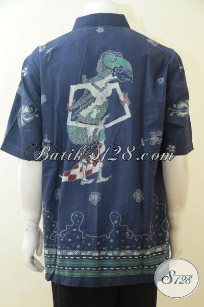 Hem Batik Biru Tua Motif Unik Trend Terkini, Baju Batik Lengan Pendek Proses TulisTersedia Ukuran Jumbo Untuk Lelaki Gemuk, Size XXL