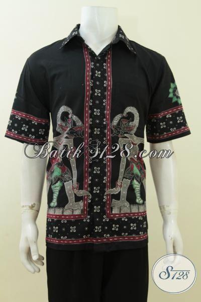 Pakaian Batik Tulis Wayang Bima, Hem Batik Hitam Elegan Lengan Pendek Tampil Lebih Gagah, Size L