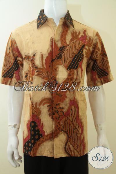 Busana Batik Formal Warna Klasik, Hem Batik Tulis Motif Modern Lengan Pendek Pria Lebih Berwibawa, Size L