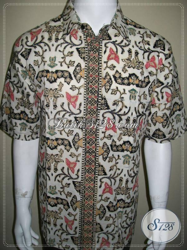 Baju Batik Wahyu Tumurun Bledak Putih Eksklusif dan Elegan, Batik Cap Solo [LD378CTC-XL]