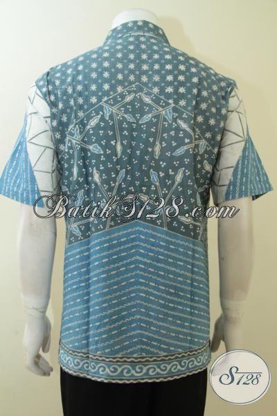 Tempat Pesan Baju Batik Kerja Pegawai, Hem Batik Klasik Motif Berkelas Model Lengan Pendek, Batik Jawa Proses Tulis Warna Alam, Size L