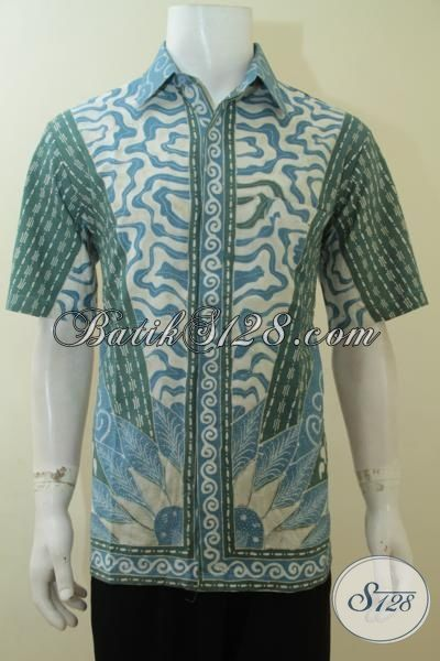 Baju Batik Berkelas Premium Model Lengan Pendek, Baju Batik Trendy Motif Klasik Tulis Warna Alam Indigo Lebih Halus, Size L