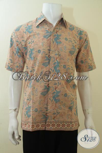 Kemeja Batik Print Halus Desain Motif Paling Keren, Baju Batik Santai Tampil Modis, Size M
