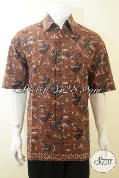 Baju Batik Pria Murah Unik Motif Burung Bango Warna Coklat
