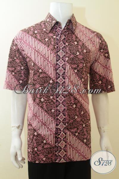 Baju Batik Keren Parang Bunga, Hem Batik Cap Tulis Bagus Lengan Pendek, Pakaian Kerja Masa Kini Pria Karir Aktif, Size XL