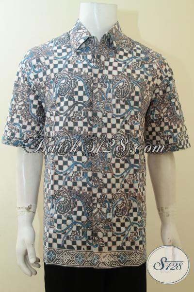 Baju Batik Bagus Bahan Halus, Kemeja Batik Cap Alam Warna Indigo, Batik Berkelas Cowok Tampil Berwibawa, Size XL