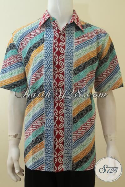 Kemeja Batik Desain Motif Paling Bagus, Baju Batik Cap Lengan Pendek Istimewa Harga Terjangkau Pas Buat Jalan-Jalan, Size L