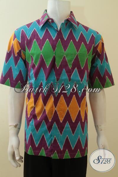 Kemeja Batik Rangrang Proses Printing, Hem Batik Berkelas Tampil Muda Dan Trendy Model Lengan Pendek, Size XL