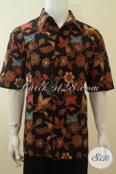Jual Kemeja Batik Print Berkelas Lengan Pendek, Baju Batik Halus Mewah Harga Murmer Motif Bunga Dan Burung Size XXL