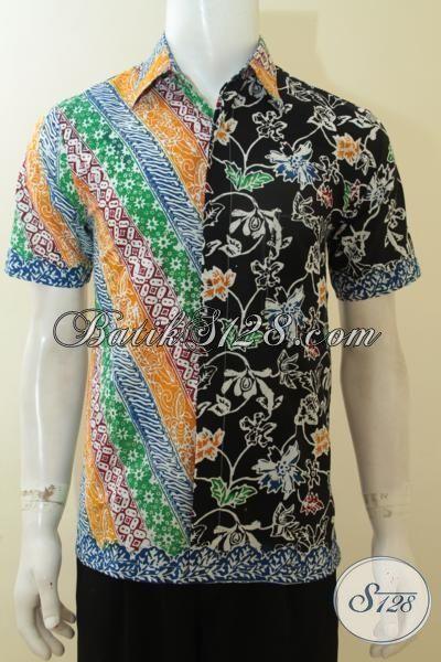 Trend Baju Batik Pria 2015,Hem Batik Anak Muda, Kemeja Batik Gaul Kombinasi Dua Motif Tampil Lebih Trendy Dan Modis [LD3885C-S]