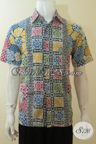 Baju Batik Remaja Pria, Hem Batik Lengan Pendek, Pakaian Batik Cap Berbahan Halus Motif Dan Warna Menawan [LD3893C-M]