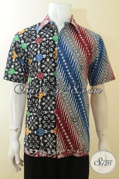 Baju Batik Keren Lelaki Muda Dual Motif, Batik Hem Modern Lengan Pendek Cowok Lebih Modis, Size M
