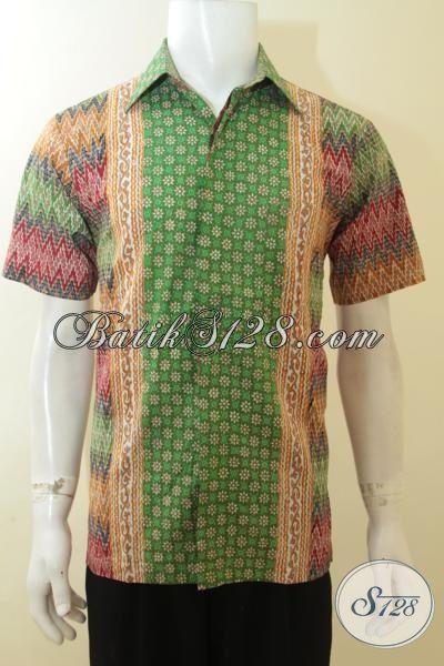 Hem Batik Pria 2015, Busana Batik Lengan Pendek Cap Tulis, Batik Santai Cocok Untuk Acara Pesta [LD3905CT-M]
