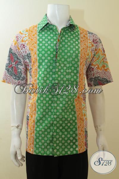 Hem Batik Cap Warna Hijau Kombinasi Kuning Motif Keren