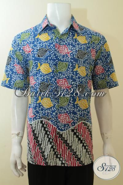 Trend Baju Batik Parang Ikan Hadir Dengan Kombinasi Warna Yang Mewah, Bausana Batik Lengan Pendek Proses Cap, Pria Tampil Menawan, Size L