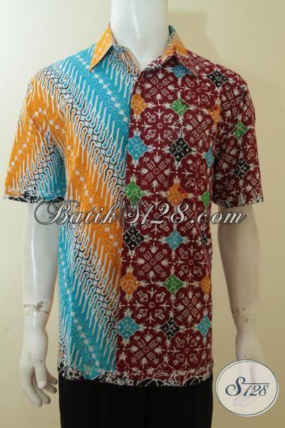 Jual Online Harga Grosir Hem Batik Modern Khas Pria Muda, Baju Kerja Motif Berkelas, Batik Santai Masa Kini Proses Cap, Size L