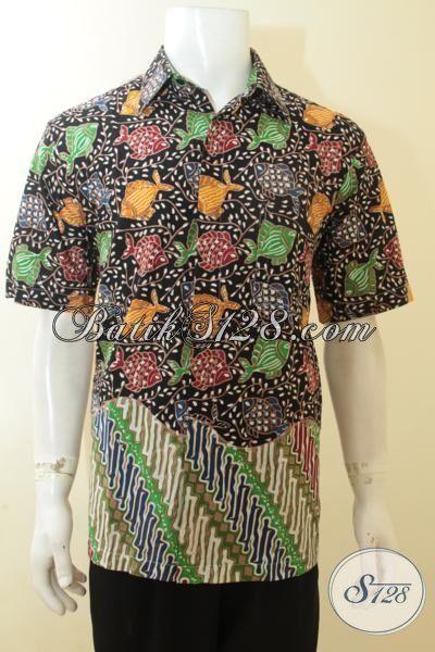 Hem Baju Batik Parang Ikan Cap Tulis, Busana Batik Fashionable Elegan Dan Mewah Kwalitas Premium Model Lengan Pendek, Size L
