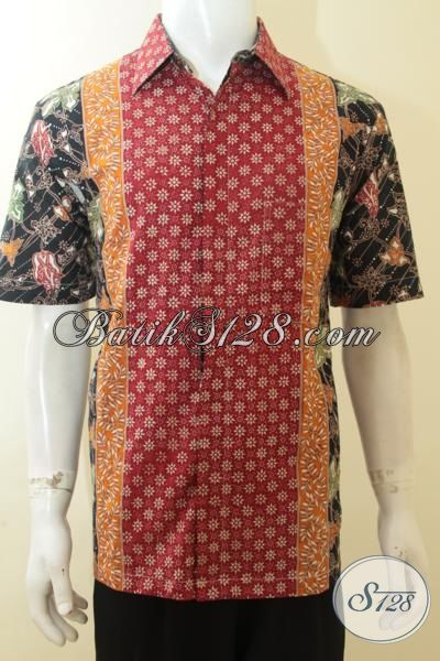 Jual Eceran Harga Grosir Hem Batik Ukuran L, Batik Modern Motif Kombinasi, Batik Cap Tulis Lebih Halus Dan Nyaman Di Pakai