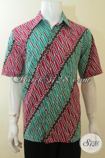 Busana Batik Cap Tulis Motif Parang Kombinasi Warna Merah Dan Hijau, Hem Batik Trendy Model Lengan Pendek Sangat Cocok Untuk Pesta Dan Seragam Kerja [LD3927CT-L]