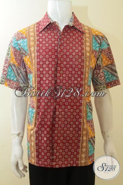 Kemeja Batik Trend Tiga Motif, Busana Batik Kombinasi Warna Yang Keren, Baju Batik Lengan Pendek Cap Tulis Bisa Untuk Kerja Dan Santai [LD3928CT-L]