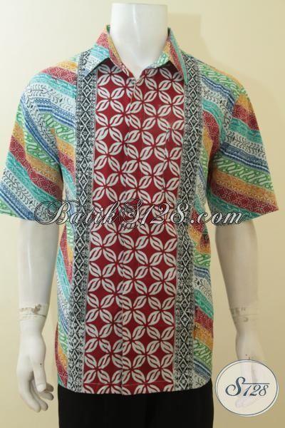 Baju Batik Tiga Warna Model Lengan Pendek Hem Batik Keren
