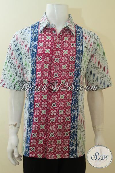 Busana Kemeja Batik Modern Pria Tampil Gagah Berkelas, Baju Batik Cap Lengan Pendek Berbahan Halus Mewah Dengan Harga Bawah [LD3934C-XL]