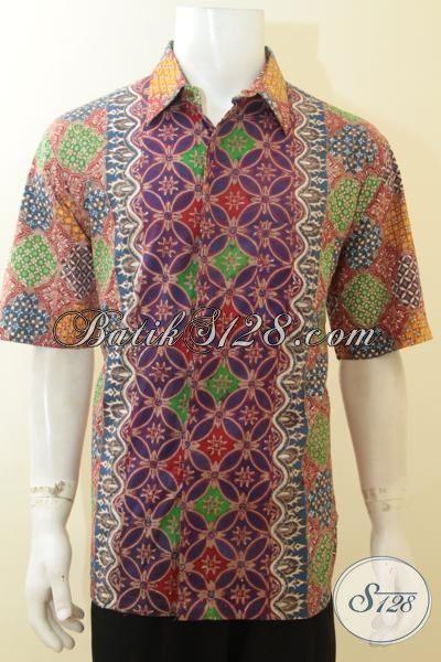 Baju Kemeja Halus Khas Anak Muda Untuk Tampil Bergaya, Hem Batik Lengan Pendek Desain Tiga Motif Dan Warna, Batik Keren Cowok Tampil Sempurna [LD3935CT-XL]