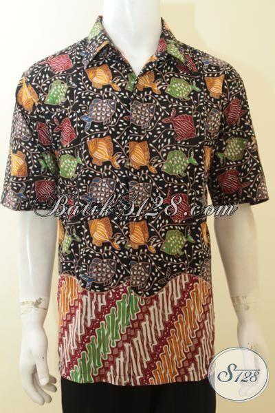 Baju Batik Pria Warna Dasar Hitam Motif Ikan Hem Batik