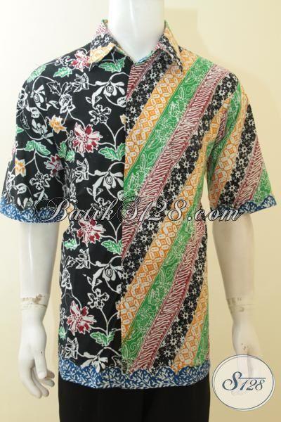Kemeja Pakaian Batik Dual Motif Warna Keren Dan Unik, Baju Batik Lengan Pendek Size Jumbo Pas Buat Cowok Berbadan Gemuk [LD3942C-XXL]