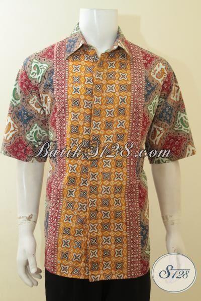 Batik Hem Cap Tulis Lengan Pendek, Baju Batik Tiga Motif Trend Terbaik Tahun Ini, Cocok Untuk Kawula Muda Dan Pria Dewasa, Size XXL