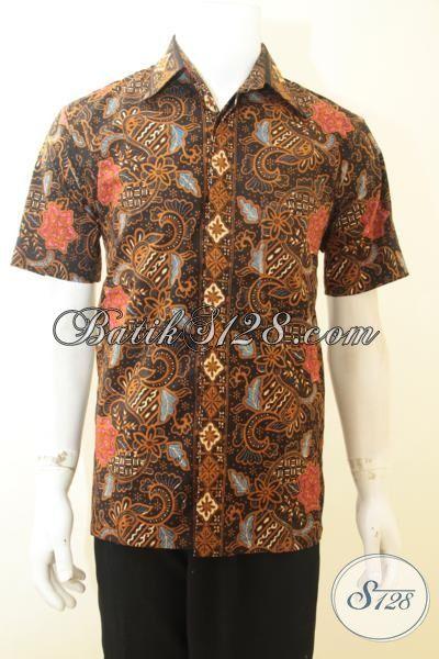 Hem Batik Klasik Istimewa Dengan Daleman Full Furing, Baju Batik Lengan Pendek Coklat Cap Tulis Desain Mewah Berkelas, Size M
