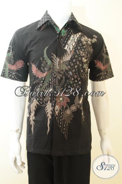 Kemeja Batik Elegan Warna Hitam, Busana Batik Tulis Motif Modern Mewah Dengan Daleman Full Furing, Batik Jawa Tengah Kwalitas Terjamin Bagus, Size M