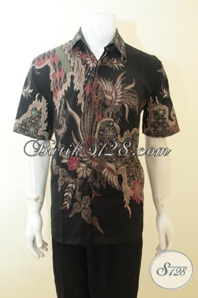 Hem Batik Hitam Motif Keren, Baju Batik Tulis Solo Pas Buat Santai, Batik JawaExclusive Untuk Ke Kantor, Size L