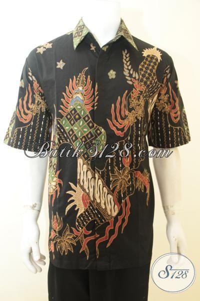 Baju Batik Ukuran Jumbo Proses Tulis, Hem Batik Lelaki Dewasa Berbadan Gemuk, Batik Kerja Motif Bagus Dan Berkelas [LD3973T-XXL]