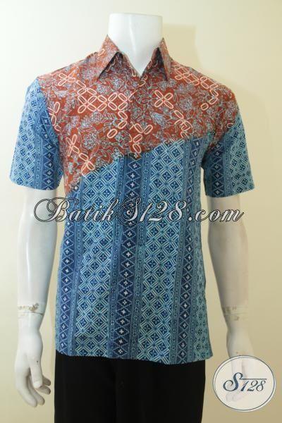 Hem Batik Dua Motif Proses Cap Tulis, Pakaian Batik Lengan Pendek Trendy Cocok Untuk Hangout, Size S