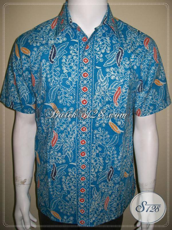 Kemeja Batik Cap Pria Warna Biru Style Modern dan Keren [LD397CC-M]