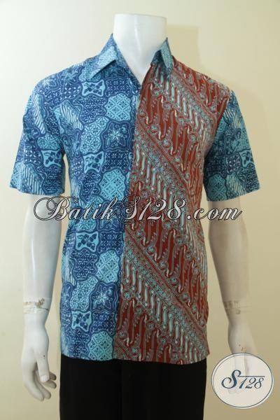 Jual Baju Batik Lengan Pendek Paling Populer Saat Ini, Hem Batik Dua Motif Dan Warna Trend Mode 2015, Baju Batik Anak Muda Tampil Gaul Dan Modis [LD3980CT-M]