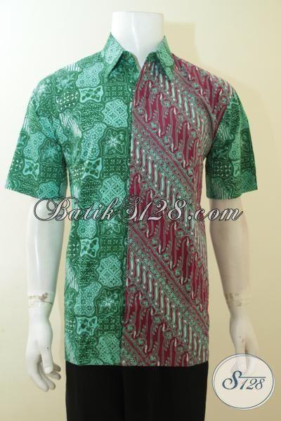 Baju Kemeja Batik Lengan Pendek Model Motif Paling Baru Yang Trendy Dan Berkelas, Busana Batik Cap Tulis Buatan Solo Dual Warna Cowok Bisa Tampil Berkelas Dan Gaul [LD3986CT-L]